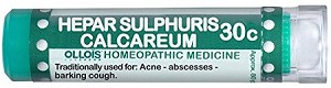 Natural Home Remedy for Abscess, Barking Cough, Acne | Hepar Sulphuris Calcareum 30C Homeopathic 80 Pellets (Lactose-Free/Vegan) by Ollois